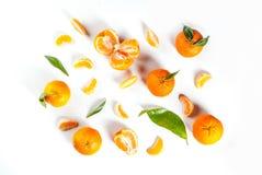 Свежие tangerines, с листьями Стоковое Изображение RF