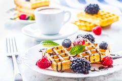 Свежие waffles с муравьем порошка сахара ягод сиропа шоколада чеканят Стоковая Фотография RF