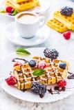 Свежие waffles с муравьем порошка сахара ягод сиропа шоколада чеканят Стоковое Изображение