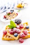 Свежие waffles с ягодами засахаривают листья порошка и мяты Стоковое Изображение RF