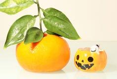 Свежий апельсин и смешная тыква Стоковое Изображение