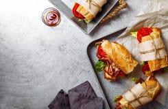 Свежий введенный в моду сандвич bahn-mi багета стоковая фотография