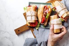 Свежий введенный в моду сандвич bahn-mi багета Стоковое фото RF