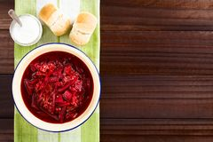 Свежий вегетарианский суп борща Стоковые Фото