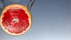 Свежий грейпфрут с выплеском воды на голубом конце предпосылки вверх стоковые изображения