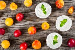 Свежий греческий югурт с сливами вишни в чашках Стоковое Изображение RF