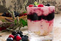 Свежий десерт югурта с зрелыми ягодами Стоковые Изображения RF
