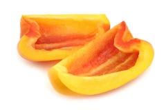 Свежий желтый и оранжевый capsicum болгарского перца ` enjoya ` соединяет стоковое изображение