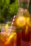 Свежий заваренный чай льда на патио Стоковые Изображения