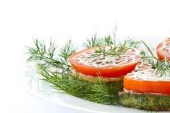 свежий зажаренный zucchini томатов Стоковая Фотография