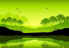 свежий зеленый ландшафт бесплатная иллюстрация