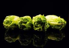 Свежий зеленый салат изолированный на черной предпосылке стоковое фото rf