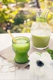 Свежий зеленый сок на деревенской таблице с белым flowe стоковая фотография rf