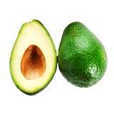 Свежий изолированные кусок авокадоа и весь зрелый зеленый плодоовощ авокадоа Стоковое фото RF