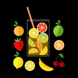 свежий лимонад Иллюстрация кувшина лимонада и плодоовощей Стоковое Изображение