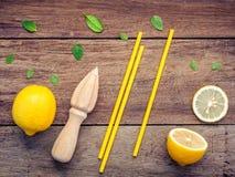 Свежий лимон и деревянный juicer для сока и коктеиля лета Fre Стоковые Фото