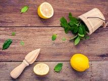 Свежий лимон и деревянный juicer для сока и коктеиля лета Fre Стоковое фото RF