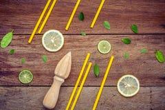 Свежий лимон и деревянный juicer для сока и коктеиля лета Fre Стоковое Изображение