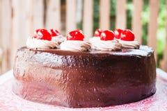 Свежий испеките вишню покрытую шоколадным тортом Стоковые Фотографии RF
