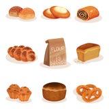Свежий испеченный набор продуктов хлеба и печенья пекарни, заплетенный хлебец, плюшка, чизкейк, иллюстрация вектора булочек кренд иллюстрация вектора