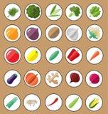 Свежий и вкусный vegetable комплект значка Стоковые Изображения
