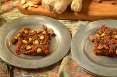 Свежий корень имбиря, 2 плиты моркови Burfi Стоковая Фотография RF