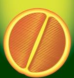 Свежий красный апельсин в продольном разрезе на зеленой предпосылке Стоковая Фотография