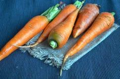 Свежий крупный план морковей на темной скатерти Стоковое Фото