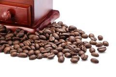 Свежий крупный план точильщика кофейного зерна и кофейного зерна Стоковое фото RF