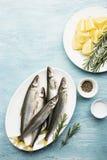 Свежий малый снеток рыб моря, сардина на простой предпосылке с кусками соли, розмаринового масла и лимона Взгляд сверху против ка Стоковое Изображение RF