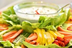 Свежий овощ с салатом и свежий греческий югурт Стоковые Фото