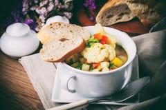 Свежий домодельный овощной суп Стоковые Изображения RF