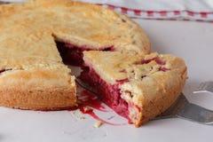 Свежий домодельный пирог вишни на белой предпосылке Сочная часть пирога вишни Стоковые Изображения RF