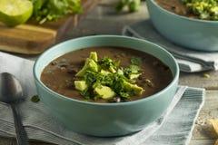 Свежий домодельный суп черной фасоли стоковая фотография