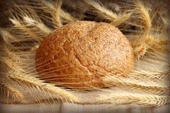 Свежий домодельный хлеб с колосками Стоковое Изображение