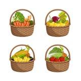 Свежий органический овощ в комплекте плетеной корзины Стоковое Фото