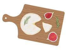 Свежий отрезанный цилиндр сыра de Normandie камамбера с розмариновым маслом и смоквами на деревянной разделочной доске, взгляде с бесплатная иллюстрация