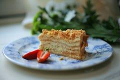 Свежий очень вкусный торт меда Стоковые Изображения