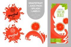 Свежий пакет сока цитруса с органическими бирками ярлыков и зелеными листьями иллюстрация вектора