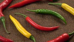 Свежий перец перцев chili - желтых, зеленых и красных chili акции видеоматериалы