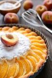 Свежий пирог персика взбрызнутый с сахаром на деревянной предпосылке Стоковые Изображения
