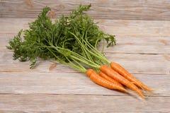 Свежий пук морковей на деревянной предпосылке Стоковая Фотография