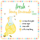 Свежий рецепт лимонада меда на лето Стоковые Изображения