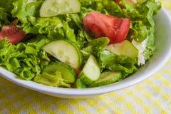 свежий салат Томат, огурец и зеленые цвета в белом шаре Стоковые Изображения RF