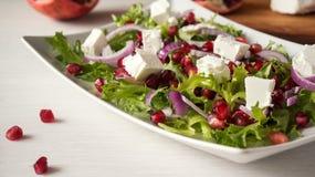 Свежий салат весны с сыром фета, красным луком и семенами гранатового дерева в белом блюде на деревянной предпосылке Стоковая Фотография RF