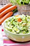 Свежий салат в шаре поставленном точки зеленым цветом Стоковое Изображение