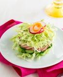 Свежий салат капусты с огурцом и редисками на белой плите Стоковые Изображения RF