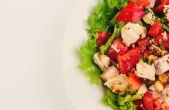 Свежий салат с салатом и мясом томата Стоковое Изображение
