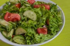 свежий салат Томат, огурец и зеленые цвета в белом шаре Стоковые Фотографии RF