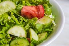 свежий салат Томат, огурец и зеленые цвета в белом шаре Стоковое Изображение